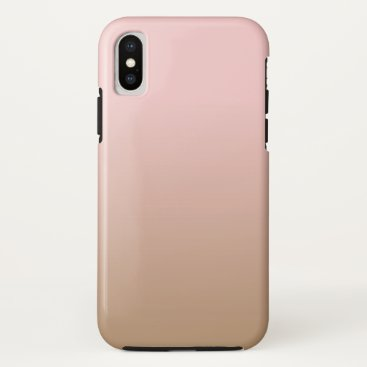 Coffee Themed Rose Quartz and Iced Coffee Ombre Pink Brown iPhone X Case