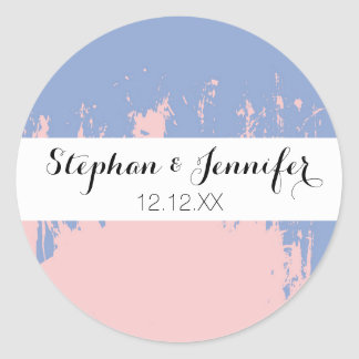 Rose Quartz and Serenity Blue Paint Strokes Classic Round Sticker