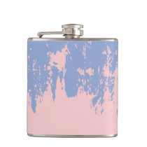Rose Quartz and Serenity Blue Paint Strokes Flask