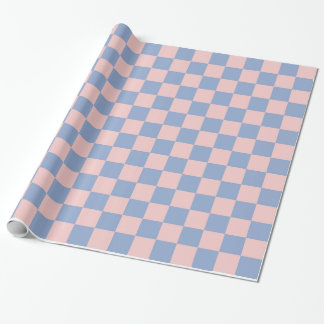 Rose Quartz and Serenity Checkered Wrapping Paper