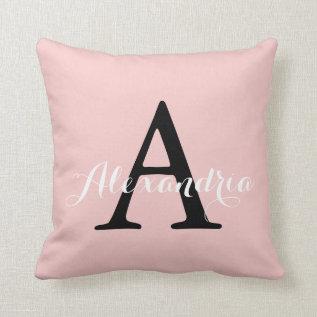 Rose Quartz Blush Baby Pink Solid Color Monogram Throw Pillow at Zazzle