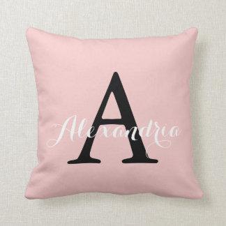Rose Quartz Blush Baby Pink Solid Color Monogram Throw Pillow