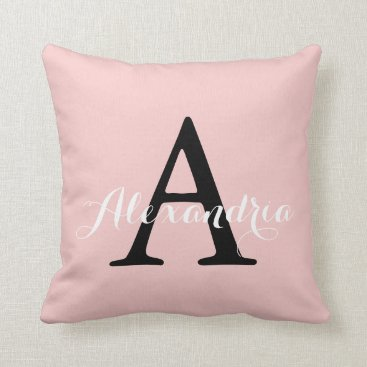 Toddler & Baby themed Rose Quartz Blush Baby Pink Solid Color Monogram Throw Pillow