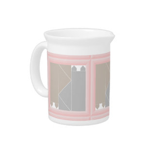 Rose Quartz Cat Quilt Gray and Coffee Cats Kawaii Pitcher