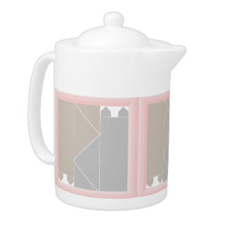 Rose Quartz Cat Quilt Gray and Coffee Cats Kawaii Teapot
