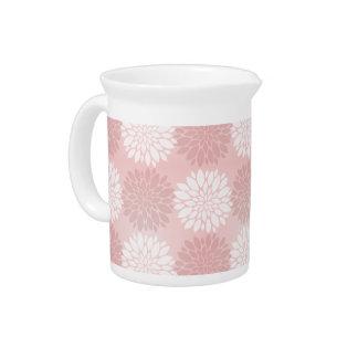 Rose Quartz Chrysanthemum Ombre Flower Kimono Pink Drink Pitcher