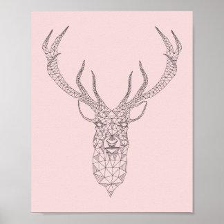Rose Quartz Deer Geometric Poster -customize color