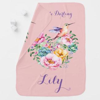 Rose Quartz Flower Heart and Hummingbird Stroller Blanket