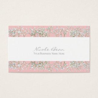 Rose Quartz Pink Babys Breath Floral Business Card