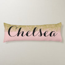 Rose Quartz-Pink Glitter Name Pillow