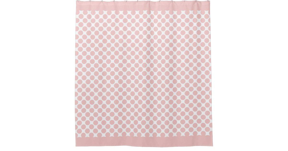 Rose Quartz Pink Polka Dots Shower Curtain