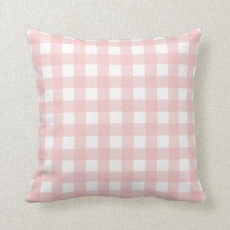 Rose Quartz Pink & White Gingham Check Throw Pillow