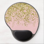 "Rose Quartz with Gold Sequins Gel Mouse Pad<br><div class=""desc"">Trendy pink color with some glam gold thrown on.</div>"