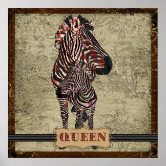 Rose Queen Zebras Vintage Poster