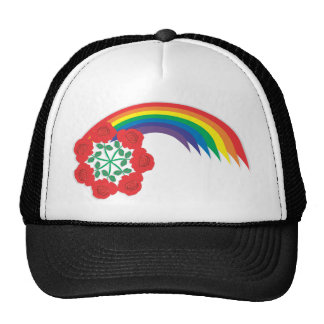 Rose-Rainbow arc Trucker Hats