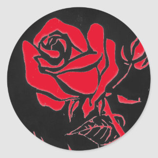 """Rose Red"" Floral Sticker"