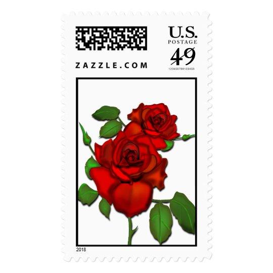 Rose Red Illustration Postage
