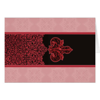 Rose Red Indian Floral Ornament Note Cards
