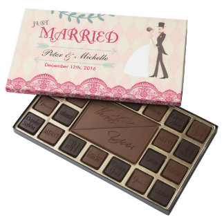 Rose Red Lace Just Married Wedding Chocolates Box