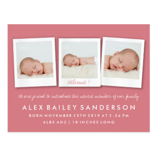 Rose Red New Baby Birth Announcement with Photos Postcard