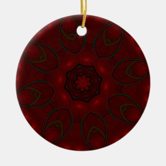 Rose Red Petals Kaleidoscope Mandala Ceramic Ornament