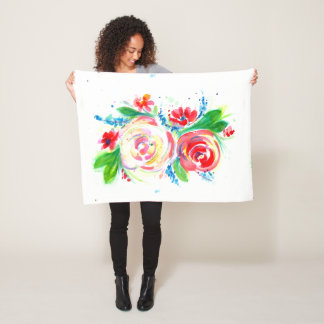 Rose Red Rose Yellow Fleece Blanket