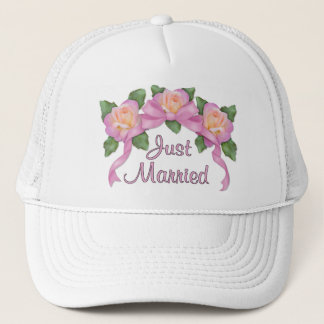 Rose Ribbon Wedding - just married Trucker Hat