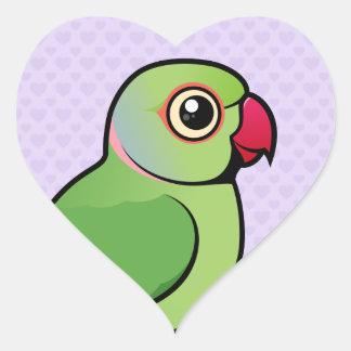 Rose-ringed Parakeet Heart Sticker