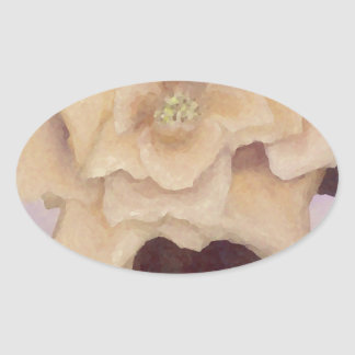 Rose Romance Light Yellow Painted Old-fashioned Oval Sticker
