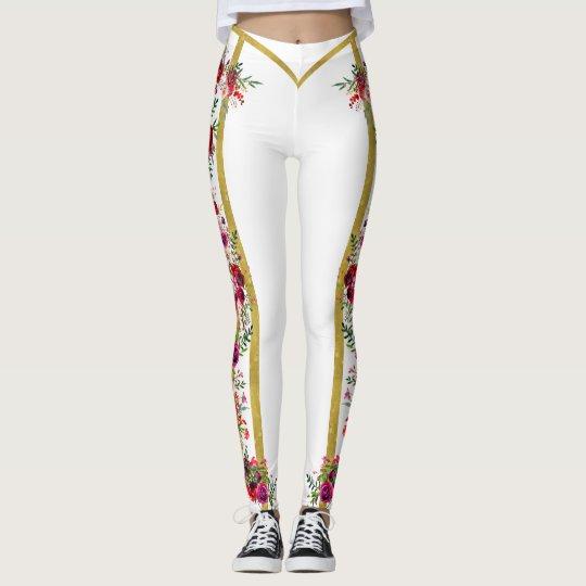 fea841cf83f97e Rose Romantique gucci inspired legging white gold | Zazzle.com