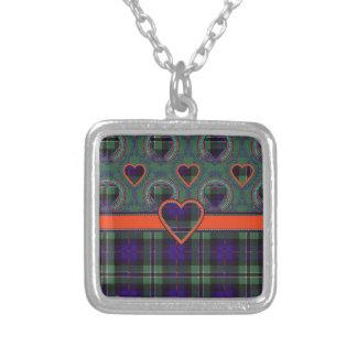 Rose Scottish clan tartan - Plaid Necklace
