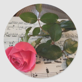Rose Sheet Music Classic Round Sticker