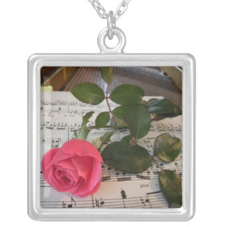Rose Sheet Music Necklace
