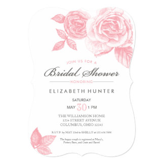 Rose Sketch Bridal Shower Invitation in Pink