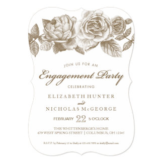 Rose Sketch Engagement Party Invitation in Sepia