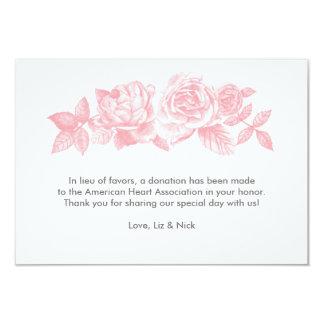 Rose Sketch Favor Card in Pink