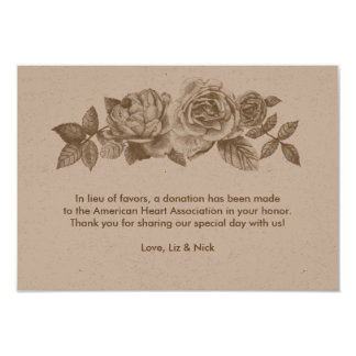 Rose Sketch Favor Card in Sepia
