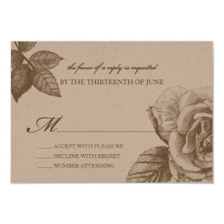 Rose Sketch Reply Card in Sepia