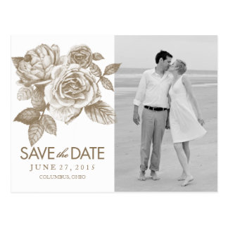 Rose Sketch Save the Date Photo Postcard in Sepia
