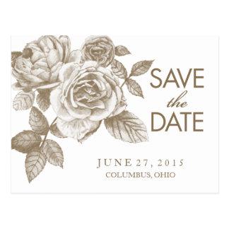 Rose Sketch Save the Date Postcard in Sepia