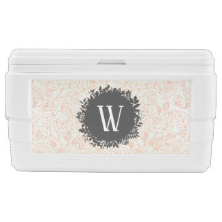 Rose Sketch Seamless Pattern with Monogram Ice Chest