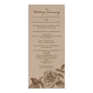 Rose Sketch Wedding Program in Sepia