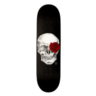 Rose Skull - Black Skateboard Deck