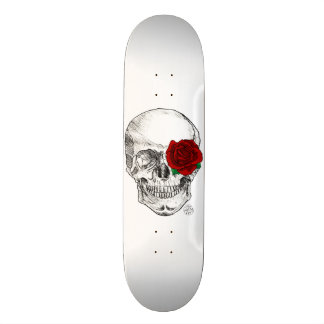 Rose Skull - White Skateboard