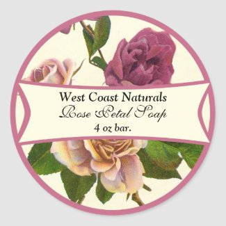 Rose Soap Label Round Sticker