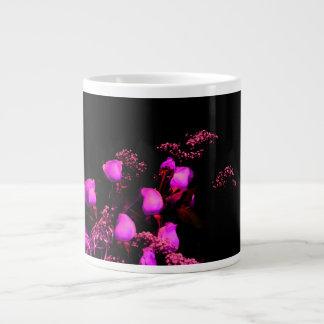 rose spray magenta against black 20 oz large ceramic coffee mug