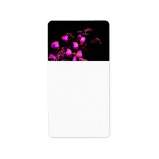 rose spray magenta against black address label