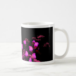 rose spray magenta against black classic white coffee mug
