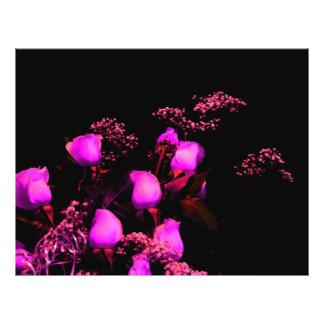 rose spray magenta against black custom flyer