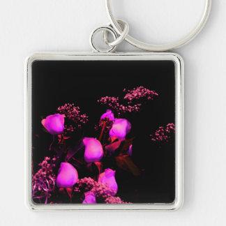 rose spray magenta against black keychains